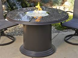 outdoor greatroom colonial fiberglass 48 round crystal fire pit dining table with british granite top