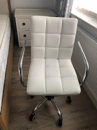 next white faux leather desk chair