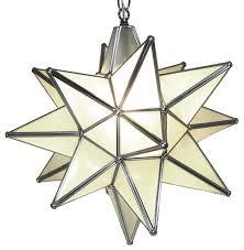moravian star pendant light frosted glass silver frame 15