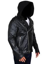 men black jacket with hoo leather jacket with hoo