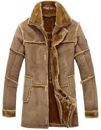 jiinn men s classic vintage winter thick warm vintage suede sheepskin jacket faux fur leather luxury overcoat