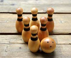 Antique Wooden Bowling Game Antique Bowling Game Stand Tumbling Pins and Wooden Ball Arcade 65