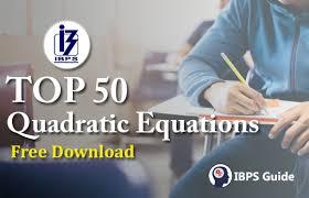 top 50 quadratic equations pdf free