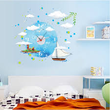 inspiring design ideas wall clock for kids room diy creative ocean sticker decoration painting clocks rooms