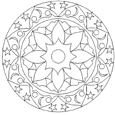 Geometric Coloring Pages Star And Moon Coloringstar