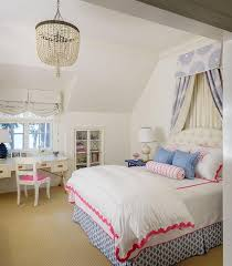 white and blue girls bedroom with blue bed valance and dry panels