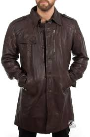 men s brown leather trench coat ashton front