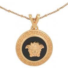mode versace medusa necklace black tribute gold