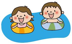 プールに浮かぶ子供たちの無料(フリー)イラスト