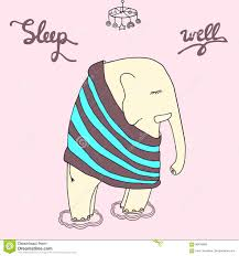Baby Elephant Drawings Good Night Illustration Sleep Well Inscription With A Cite Sleeping