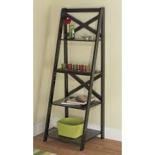 wooden ladder shelf furniture. Charming Wooden Leaning Bookcase In Black And Four Tier Ladder Shelve On Floor For Living Room Decor Ideas Shelf Furniture N