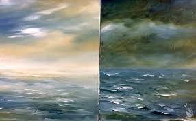 dusk and dawn seascape set