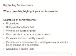 Achievement At Work Examples