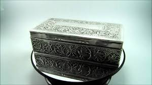 Decorating Cigar Boxes Antique Indian Silver Cigarette Cigar Box Case Embossed Foliate 37