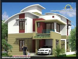 4 bedroom house designs. 2035 Sq Ft 4 Bedroom Contemporary Villa Elevation And Plan Home Regarding Low Budget Modern 3 House Designs
