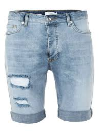 Light Blue Jean Shorts Mens Light Blue Ripped Stretch Skinny Denim Shorts In 2019