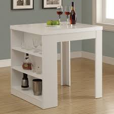 white counter height table. Monarch Clayton White Square Counter Height Table With Shelf Storage | Hayneedle N