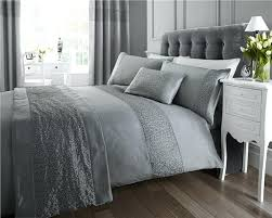 grey double bedding new double duvet set grey silver sequin luxury quilt cover bed set