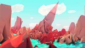 3000x1725 low poly landscape digital art artwork red blue wallpapers hd