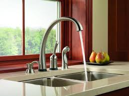Delta Pilar Kitchen Faucet Faucetcom 4380 Sd Dst In Chrome By Delta
