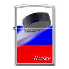 <b>Зажигалка ZIPPO Российский хоккей</b>, латунь/сталь с покрытием ...