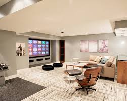 ... Charming Entertainment Room in Brown Brown Basement Designs ...