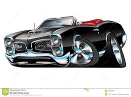 Classic American Muscle Car Cartoon Illustration Stock