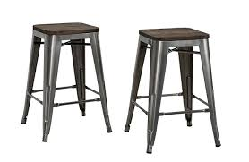 amazoncom dhp fusion metal backless counter stool with wood seat