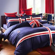 navy blue white and red the british flag print 100 cotton satin full queen size bedding sets