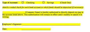 Employee Direct Deposit Authorization Agreement Free Direct Deposit Authorization Forms Pdf Word