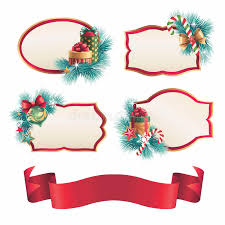 Blank Boxes To Decorate Christmas Blank Labels And Stickers Design Set Stock Illustration 42