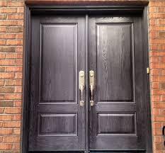 exterior fiberglass doors. 2 panel woodgrain fiberglass double door in charcoal stain finish exterior doors