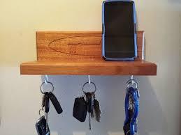 wall mounted key rack shelf mahogany