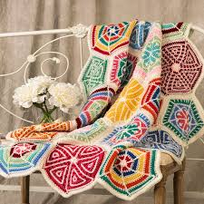 Redheart Free Crochet Patterns Simple Mandala Sampler Throw Red Heart
