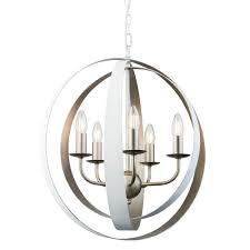 toro 5 light vintage champagne and matt white large globe pendant light