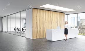 office reception office reception area. Office Reception. White Reception At Wooden Wall Businesswoman In Front Panoramic Window Right Area