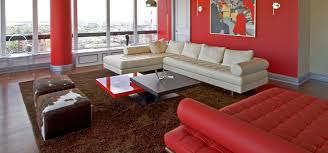 ideas living room brown furniture red