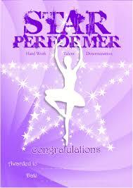 Dance Award Certificate Star Performer Recognition Certificate Badge
