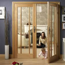 worcester oak 3 pane fire door pair with clear safety glass and 30 minute fire rated