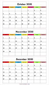 Cute October November December 2020 Calendar Design 2020