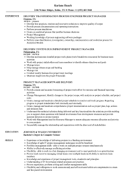 Delivery Manager Project Manager Resume Samples Velvet Jobs