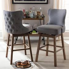 upholstered bar stools. Baxton Studio Gradisca Beige Fabric Upholstered 2-Piece Bar Stool Set Stools