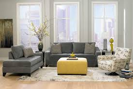Furniture, Contemporary Living Set With Brown Velvet Tufted Sofa And Yellow  Upholstered Table On White Living Rugs In Gray Living Room Desig.