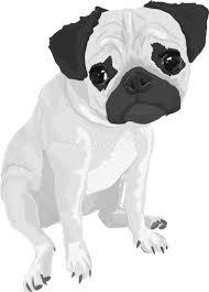 パグの白黒モノクロでかっこいい犬の無料イラスト68023 素材good