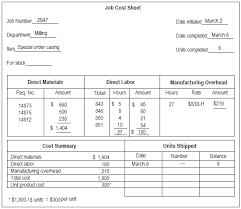 Job Cost Sheet Explanation And Example Accounting For