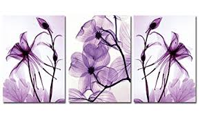 eden art 3 panels transparent purple flowers pictures photos prints on canvas wall artwork high on canvas wall art purple flowers with amazon eden art 3 panels transparent purple flowers pictures