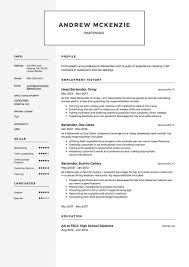 Restauranter Resume Sample Creative Templates Template Australia