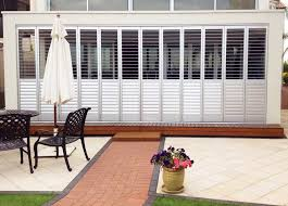exterior shutters used indoors. anodised exterior shutters for patios used indoors