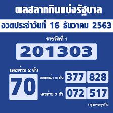 ผลสลากกินแบ่งรัฐบาล ตรวจหวย งวด 16 ธันวาคม 2563