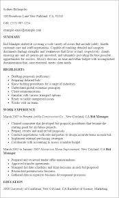 Resume Templates: Bid Manager
